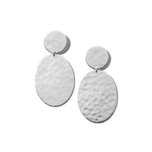 Crinkle Hammered Oval Snowman Earrings in Sterling Silver SE2416