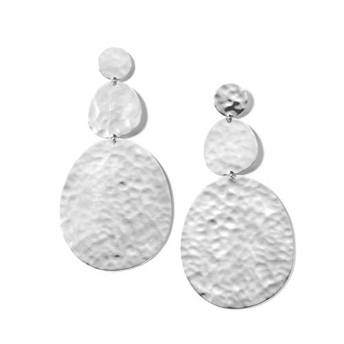 Crinkle Large Snowman Earrings in Sterling Silver SE2419