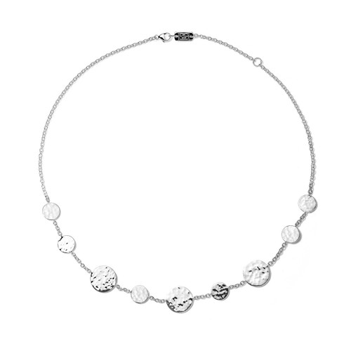 Crinkle Hammered Circle Station Necklace in Sterling Silver SN1758