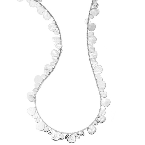 Crinkle Hammered Long Nomad Necklace in Sterling Silver SN1760