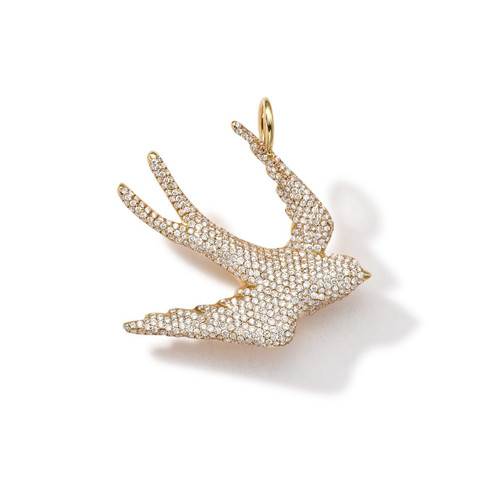 Online Exclusive Dove Charm in 18K Gold with Diamonds GC092DIA