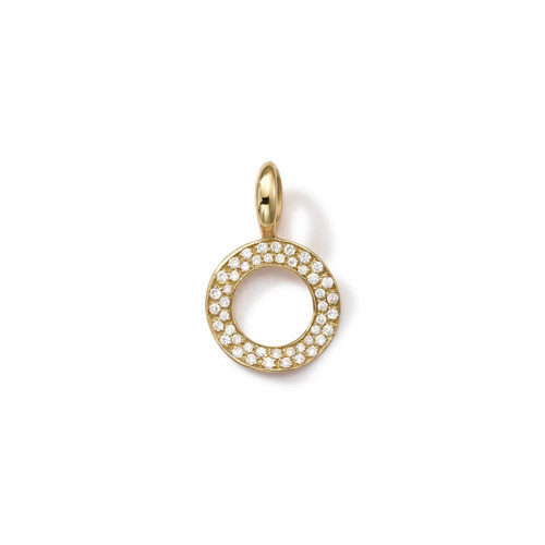 Online Exclusive Wavy Circle Charm in 18K Gold with Diamonds GC114DIA