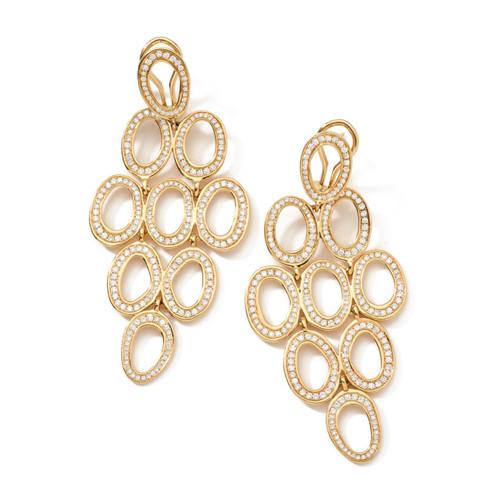 Open Oval Cascade Earrings in 18K Gold with Diamonds GE020DIA-A