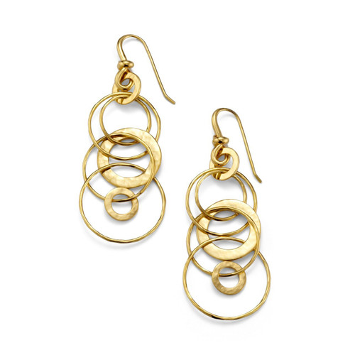Hammered Jet Set Earrings in 18K Gold GE046-PA