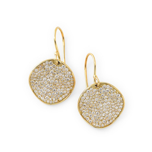 Medium Flower Drop Earrings in 18K Gold with Diamonds GE109DIA-A