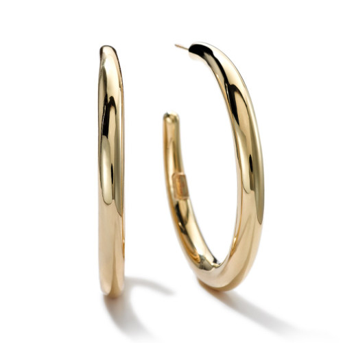 Medium Smooth Hoop Earrings in 18K Gold GE1378