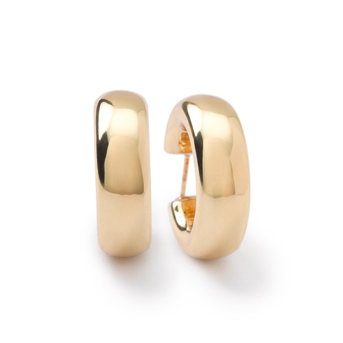 Thick Small Flat Hoop Earrings in 18K Gold GE1418