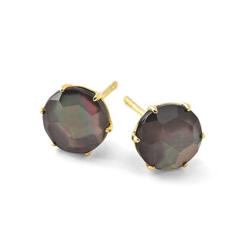 Medium Round Stud Earrings in 18K Gold GE1433DFBKL