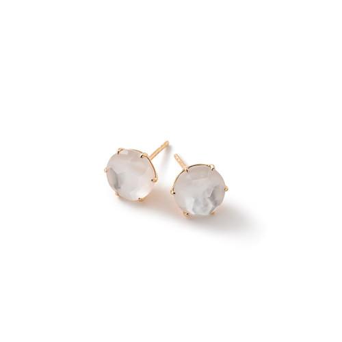 Medium Round Stud Earrings in 18K Gold GE1433DFMOP