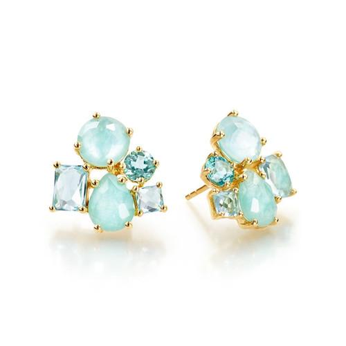 Cluster Stud Earrings in 18K Gold GE1436WATERFALL-PA