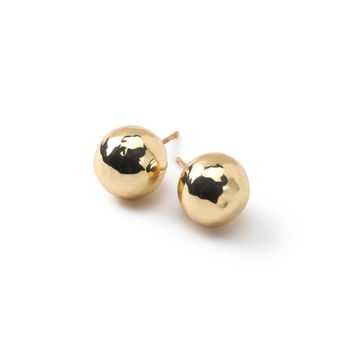 Hammered Ball Stud Earrings in 18K Gold GE1444