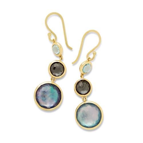 Lollitini 3-Stone Drop Earrings in 18K Gold GE1529MIDRAIN