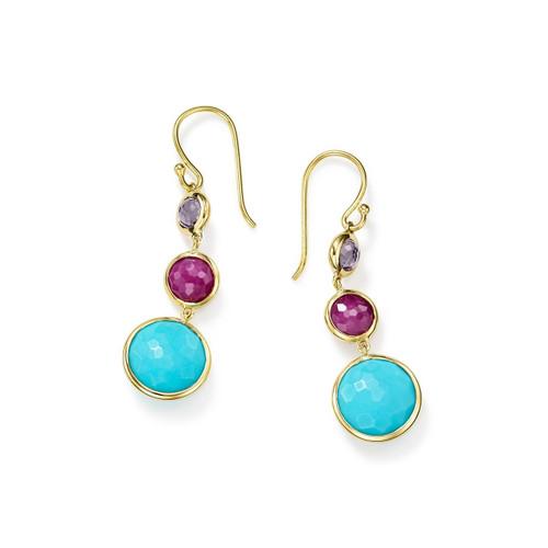 Lollitini 3-Stone Drop Earrings in 18K Gold GE1529MULTI-PA
