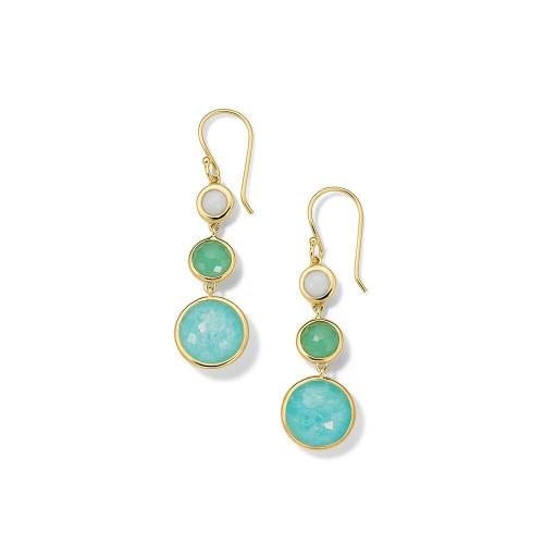 Lollitini 3-Stone Drop Earrings in 18K Gold GE1529SIREN