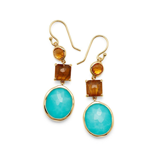 3-Stone Drop Earrings in 18K Gold GE1554CALABRIA