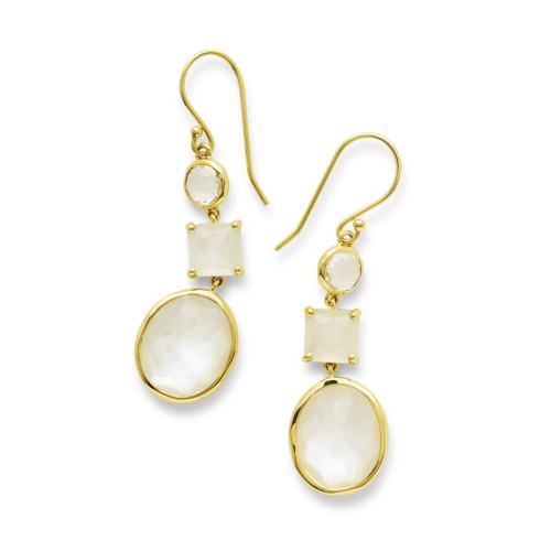 3-Stone Drop Earrings in 18K Gold GE1554FLIRT