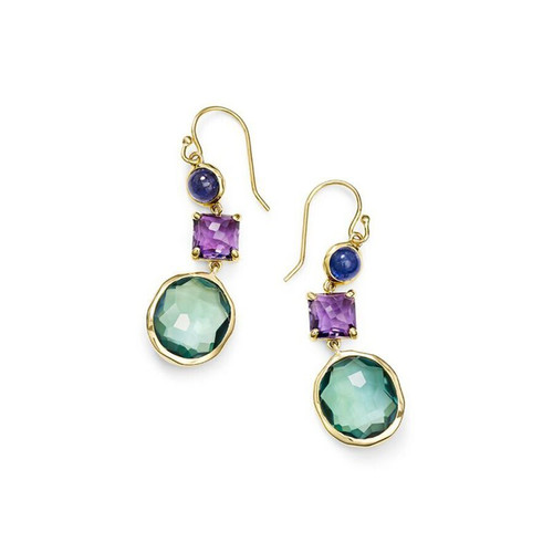 3-Stone Drop Earrings in 18K Gold GE1554HOLOGEM