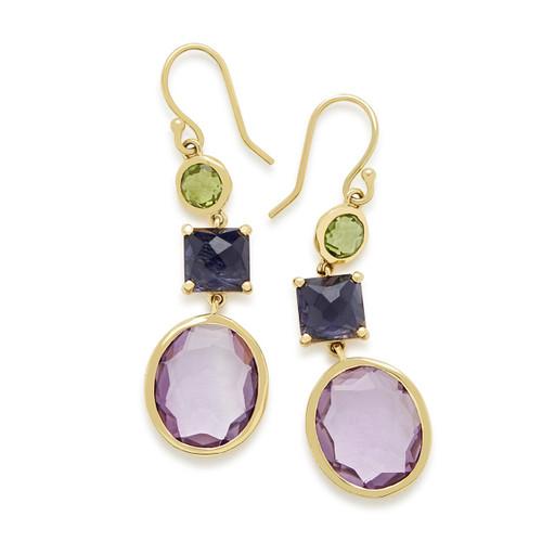 3-Stone Drop Earrings in 18K Gold GE1554VENEZIA