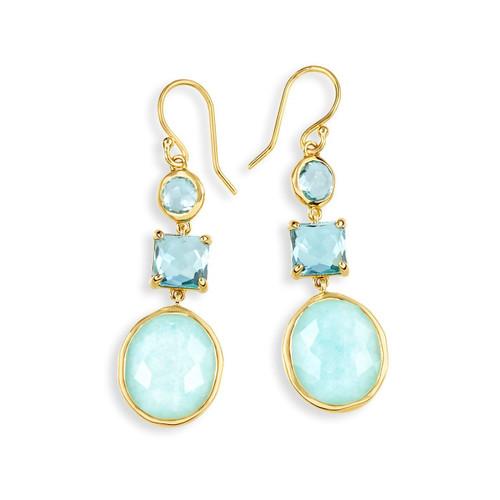 3-Stone Drop Earrings in 18K Gold GE1554WATERFALL
