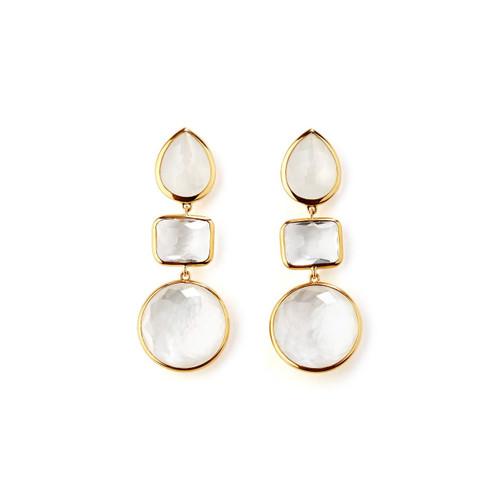 3-Stone Linear Earrings in 18K Gold GE1621FLIRT