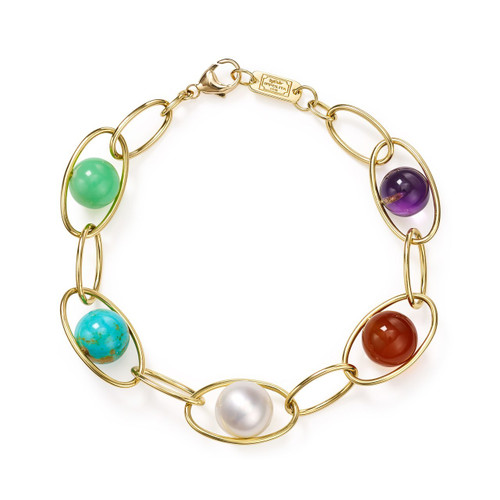 Multi-Size Link Bracelet in 18K Gold GB1018RIV