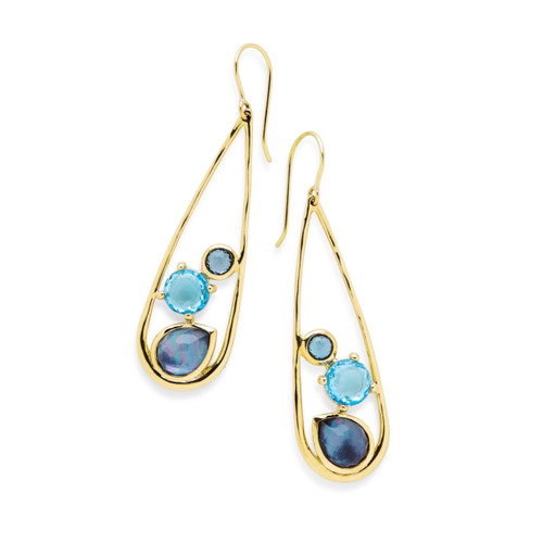 Multi-Stone Teardrop Earrings in 18K Gold GE1647MIDRAIN