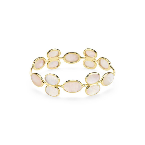 All Around Oval Stone Bangle in 18K Gold GB1026MOP