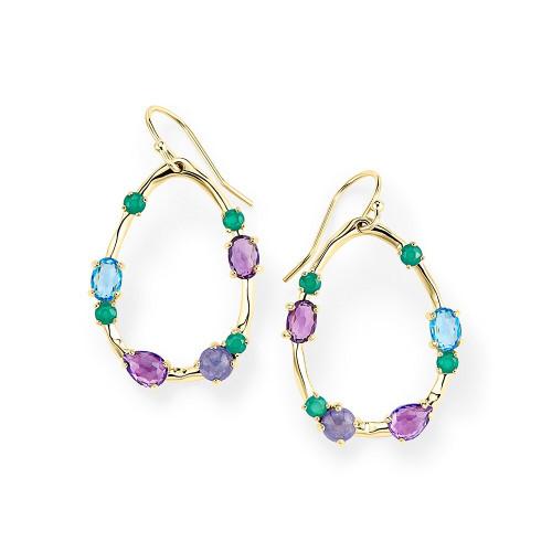 Medium Multi Stone Frame Earrings in 18K Gold GE1777HOLOGEM