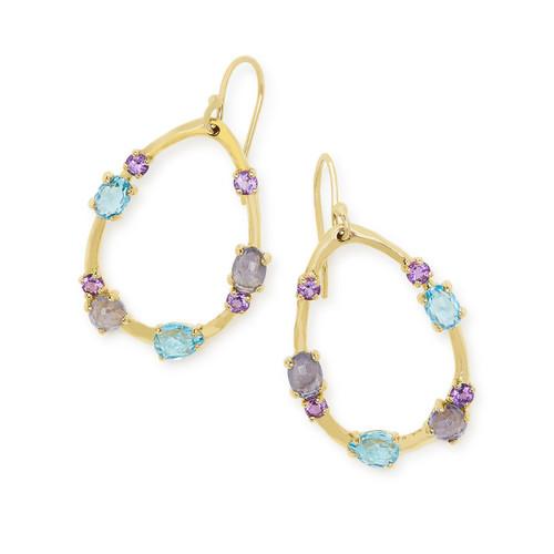 Medium Multi Stone Frame Earrings in 18K Gold GE1777LAVENDERDU