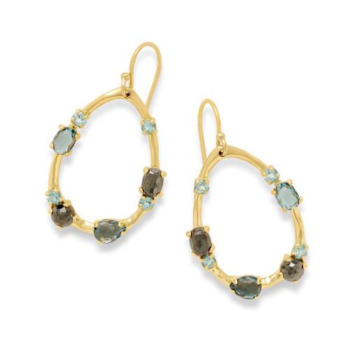 Medium Multi Stone Frame Earrings in 18K Gold GE1777MIDRAIN
