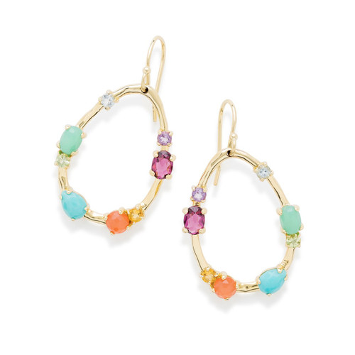 Medium Multi Stone Frame Earrings in 18K Gold GE1777RAINBOW