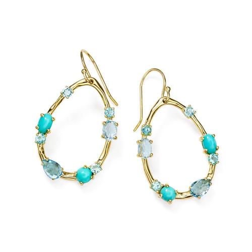 Medium Multi Stone Frame Earrings in 18K Gold GE1777WATERFALL