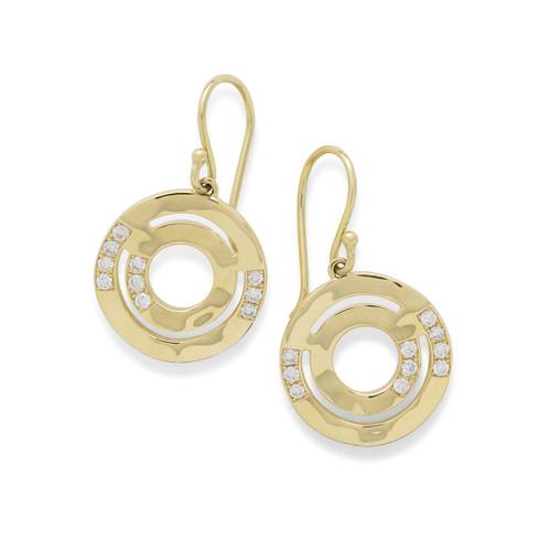 Wavy Disc Earrings in 18K Gold with Diamonds GE1792DIA