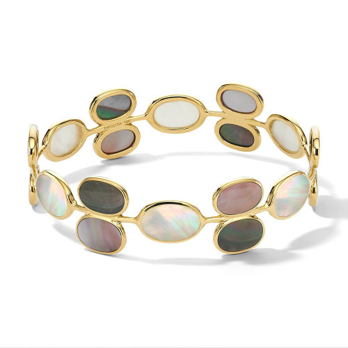 All Around Oval Stone Bangle in 18K Gold GB1026SABBIA