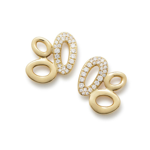 Cluster Stud Earrings in 18K Gold with Diamonds GE1853DIA