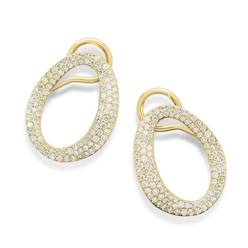 Small Cherish Link Earrings in 18K Gold with Diamonds GE1854DIA