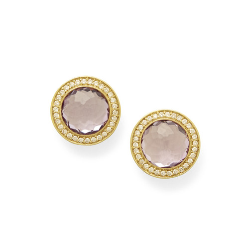 Stud Earrings in 18K Gold with Diamonds GE1857AMDIA