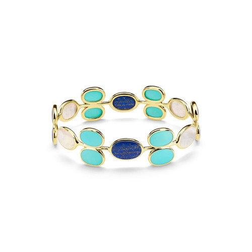 All Around Oval Stone Bangle in 18K Gold GB1026VIAREGGIO