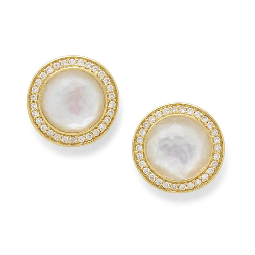 Stud Earrings in 18K Gold with Diamonds GE1857DFMOPDIA