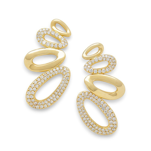 Cherish Link Ear Climber in 18K Gold with Diamonds GE1859DIA