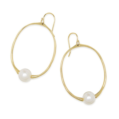Small Round Drop Earrings in 18K Gold GE1882PRL