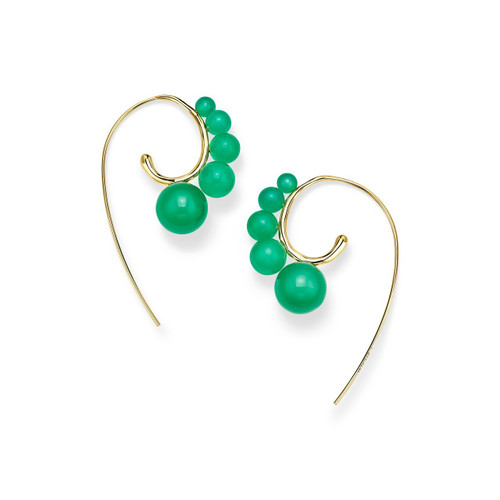 Tribal 5-Stone Curved Ear Wire Earrings in 18K Gold GE1886AGGL