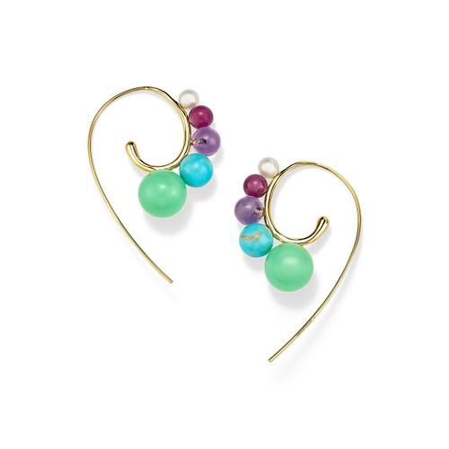 Tribal 5-Stone Curved Ear Wire Earrings in 18K Gold GE1886RAINBOW