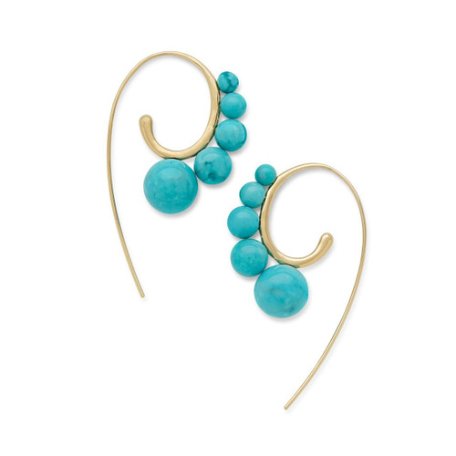 Tribal 5-Stone Curved Ear Wire Earrings in 18K Gold GE1886TQGM