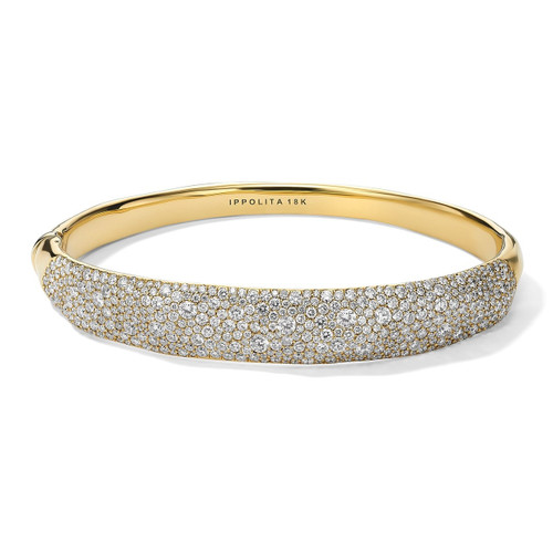 Organic Hinged Bangle in 18K Gold with Diamonds GB1057DIA