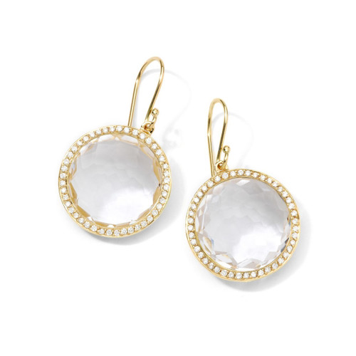 Round Drop Earrings in 18K Gold with Diamonds GE195CQDIA