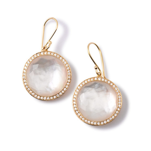 Round Drop Earrings in 18K Gold with Diamonds GE195DFMOPDIA
