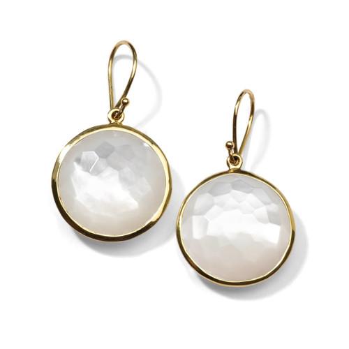 Round Drop Earrings in 18K Gold GE195MOP
