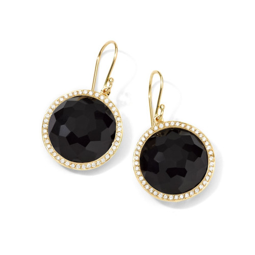 Round Drop Earrings in 18K Gold with Diamonds GE195NXDIA