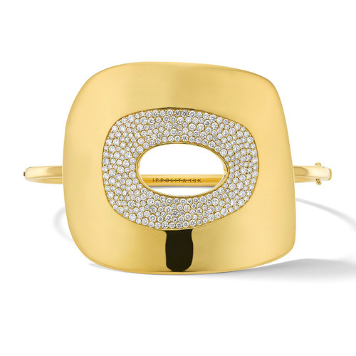 Large Mosaic Hinged Bangle in 18K Gold with Diamonds GB1063DIA